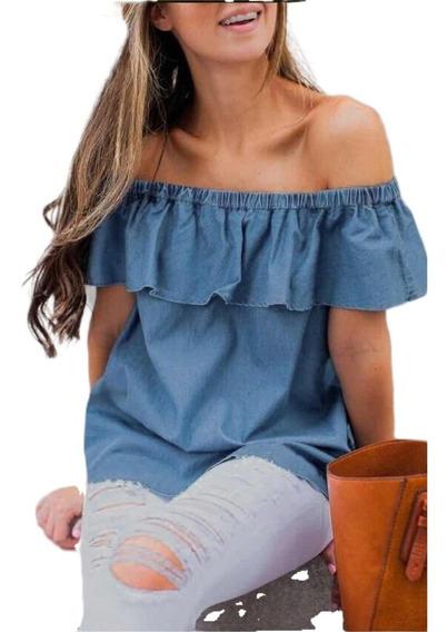 Blusa Jeans Ciganinha Feminina Verão Lançamento Importado