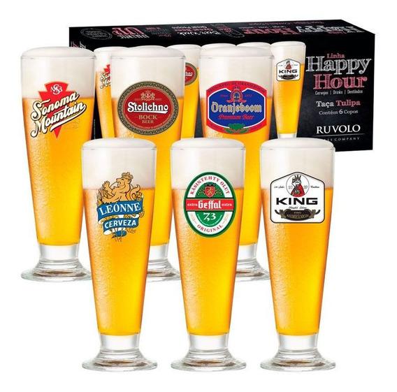 Jogo De Taças De Cerveja Hh Tulipa 300 Ml 6 Pcs