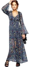 Vestido Largo Azul Gasa Envìo Gratis Vd 29