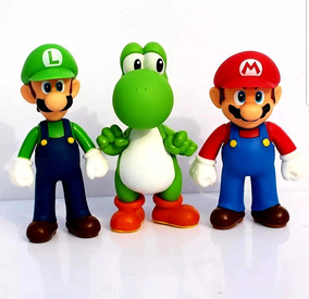 Super Mario, Luigi E Yoshi - Kit Com 3 Bonecos