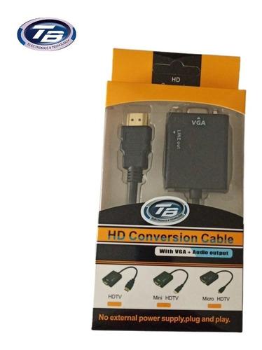 Imagen 1 de 4 de Convertidor Hdmi A Vga Con Sonido (incluye Cable De Audio)