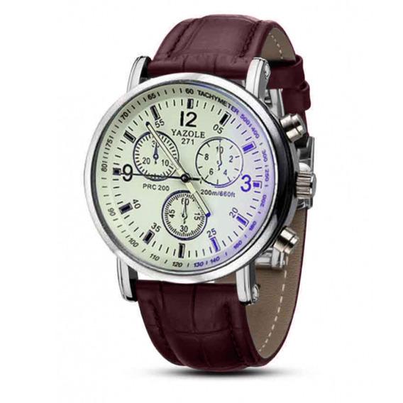 Relógio Social Masculino Pulseira Couro Marrom Yazole Luxo