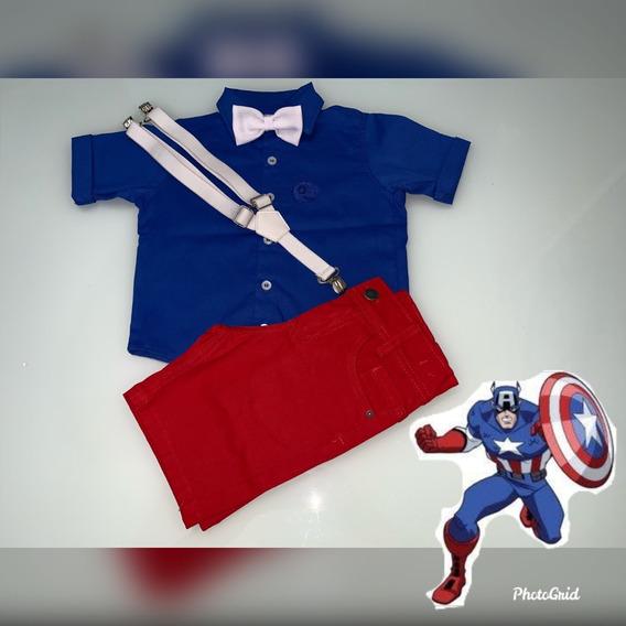 Conjunto Tema Capitão América Camisa Bermuda Suspensório