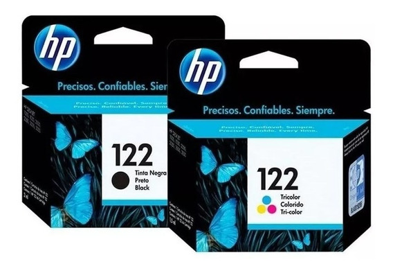Kit Cartuchos 122 Color Preto Origina Hp 1000 2050 3050 2000