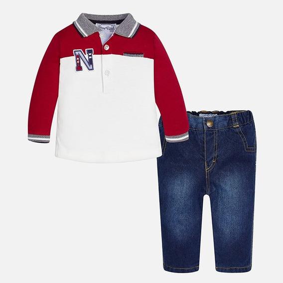 Conjunto De Playera Polo Y Jeans 2541 # 2-4 Y 4-6 Meses C