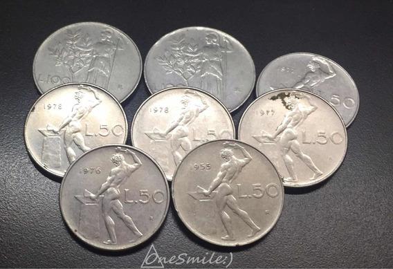 Onesmile:) Lote De 8 Monedas Italianas, Liras