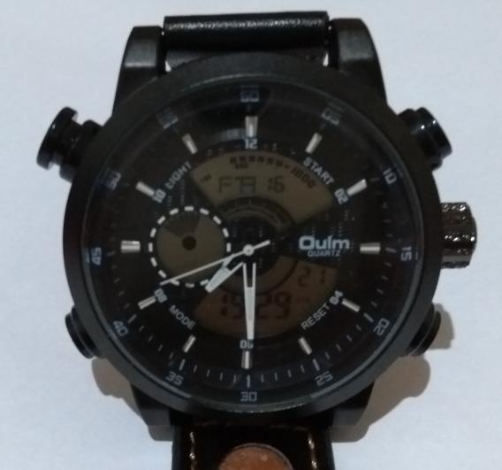Relógio Pulso Masculino Preto Vm Oulm Hp3558 Couro Promoção