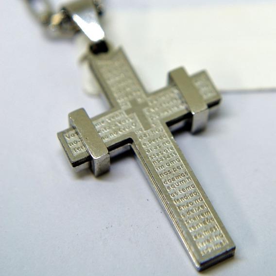 Pingente Cruz Crucifixo Pai Nosso Aço + Cordão 3x1 70cm Aço