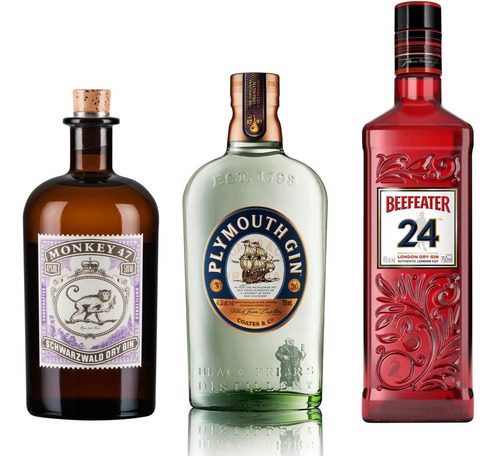 Kit Gin Plymouthl + Gin Monkey 47 + Gin Beefeater 24
