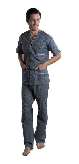 Pijama Hombre Abotonado Manga Corta Pantalon Largo