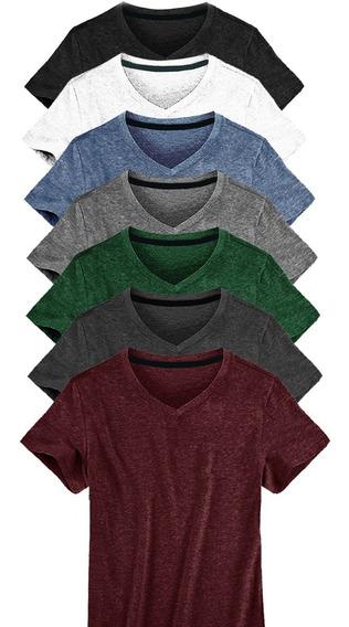 Kit C/10 Un Camisa Blusa Camiseta Masculina Gola V Basicas