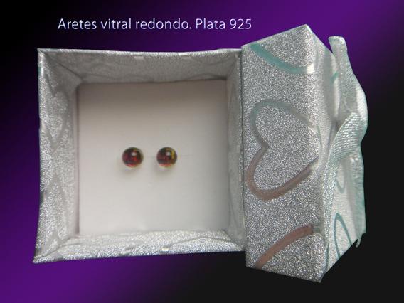 Aretes Vitral (arcoiris) Redondo Plata 925