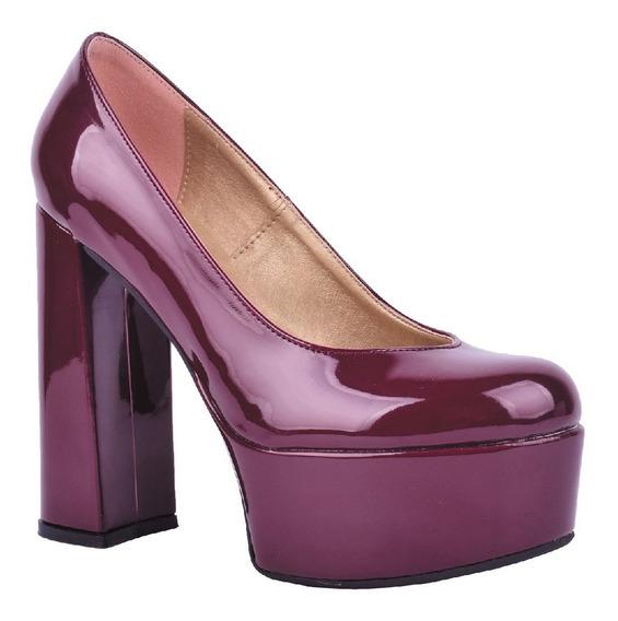 Zapato 8315 Con Plataforma Charol Nude, Negro, Bordo
