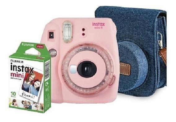 Kit Instax Mini 9 Camera + Bolsa + 10 Filmes Rosa Chiclete