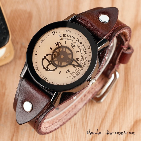 Relógio Masculino Pulso Original Pulseira Couro Kevin Watch