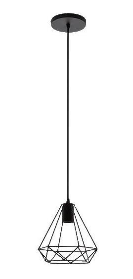Lámpara Colgante Estilo Retro Negro Acero Mate Maxxi