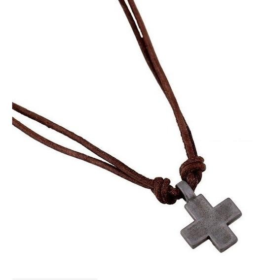 Collar Ajustable Cruz O Trebol Hombre De Piel, Fashion