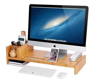 Mesa Organizadora De Madera De Bambú Para Laptop Con Repisas