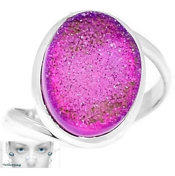 Tw Anel Pedra Agata Druzy Rosa 48cts- Prata 925