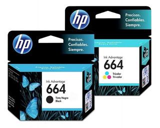 Pack Tintas Hp 664 Negro Y Color Originales