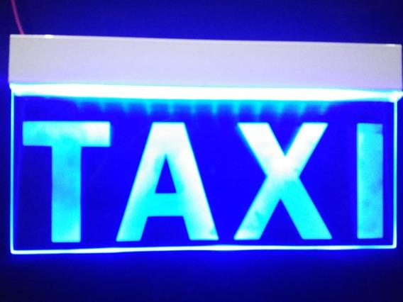Letrero Anuncio Luminoso Led Taxi 25x12cm Azul