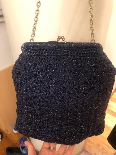 Cartera Vintage Color Azul De Lurex Tipo Tejida Excelente Es