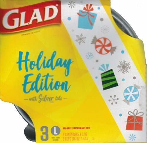 Paquete De La Coleccion Glad Holiday De 3 Tapas Big Bowl Plu