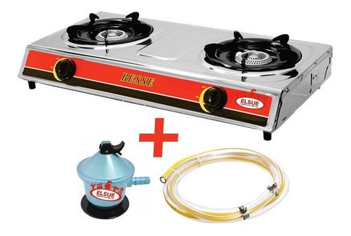 Anafe 2 Hornallas A Gas Acero Inox Encendido Elec + Regalos