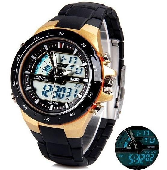 Relógio Skimei 1016 Dourado Digital Analógico