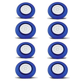 Kit 8 Luminária 12v 18w 125mm Led Branco 6500k Corpo Azul