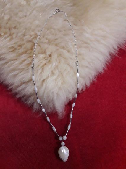 Lindo Colar De Prata 925 E Madrepérola Branca