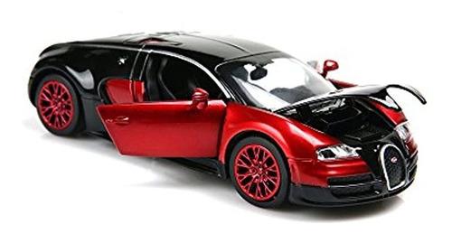 Coche Fundido A Troquel Para Coche Bugatti Veyron  (rojo)