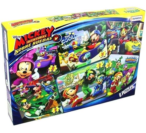 Imagen 1 de 3 de 6 Puzzles Rompecabezas Disney Junior Mickey Sobre Ruedas