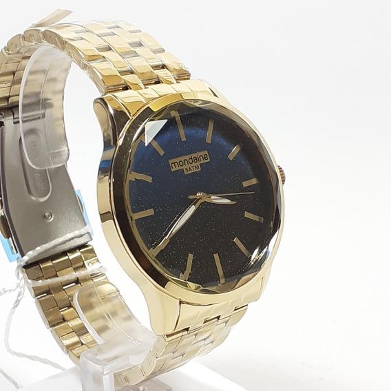 Relógio Masculino Mondaine Dourado Fundo Preto Ref 99023lp