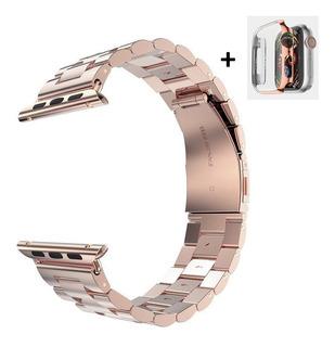 Pulseira Apple Watch Ouro Rosé Metal Elos 44mm 40mm + Case