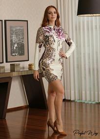 Perfectway Vestido Curto Ml. Est. Exc. Floral Apronta Entreg