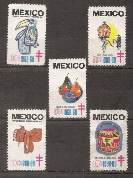 Mexico Bono-viñeta Protuberculosis Año 1968-9 X5 Sin Goma