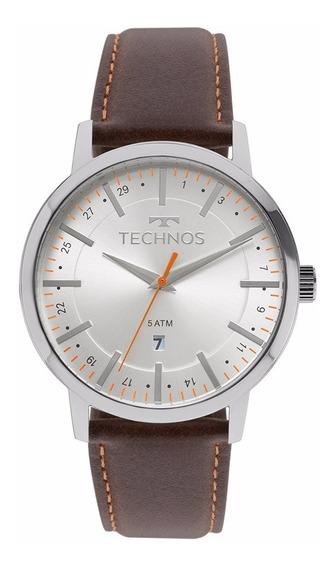 Relógio Technos Masculino Classic 2115mmhtdy/1b Couro Marrom