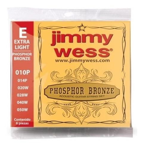 Imagen 1 de 1 de Encordadura Jimmy Wess Bronce Extra Light E/ac 7502229314881