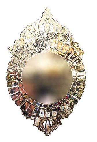 Espelho Veneziano De Vidro Trabalhado A Mão