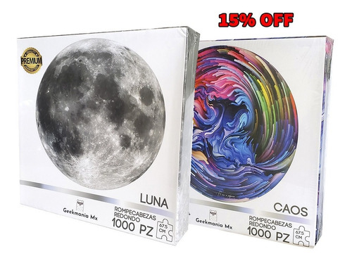15% Off 2pz Rompecabezas Redondo Luna 1000pz 67.5cm 2mm