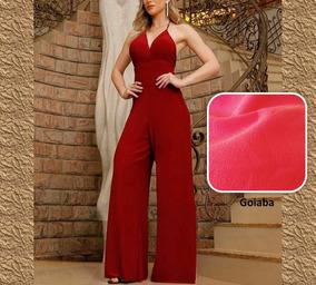 Macacão Fashion Calça Pantalona C/ Bojo - Frete Grátis