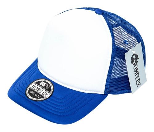 Imagem 1 de 5 de Boné Telado Liso Trucker Tomflex Azul / Branco Frete Grátis