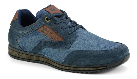 Tênis Masculino West Coast Camurça Azul Jeans 126925cp-3