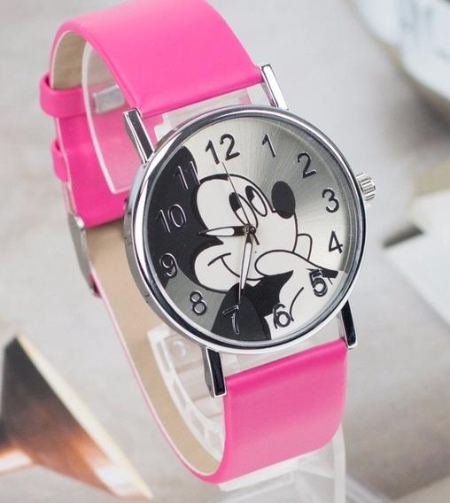Relógio Mickey Feminino Pulseira Couro Pink Rg004f