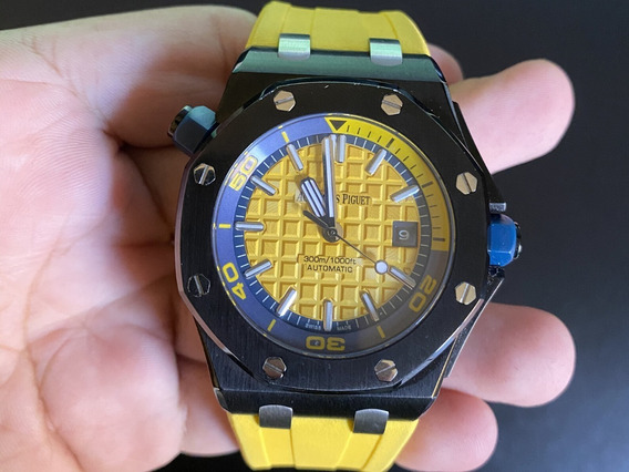 Relógio Audemars Black Yellow
