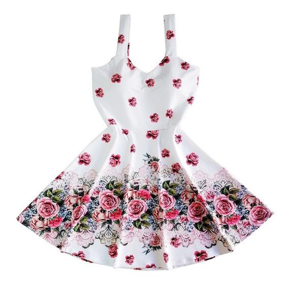 Vestido Boneca Rodado Princesa Barrado De Flores