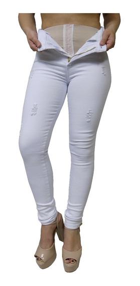Calça Jeans Branca Skinny Com Rasgadinhos Feminina Sawary Com Cinta Embutida Por Dentro Modelo Compressora Modeladora