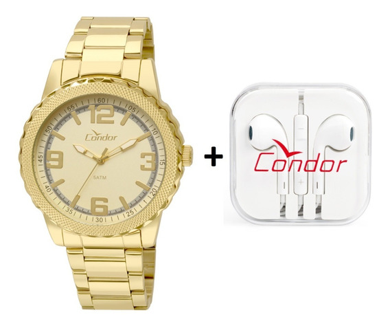 Relógio Masculino Condor Dourado+fone Co2035ksr/k4d