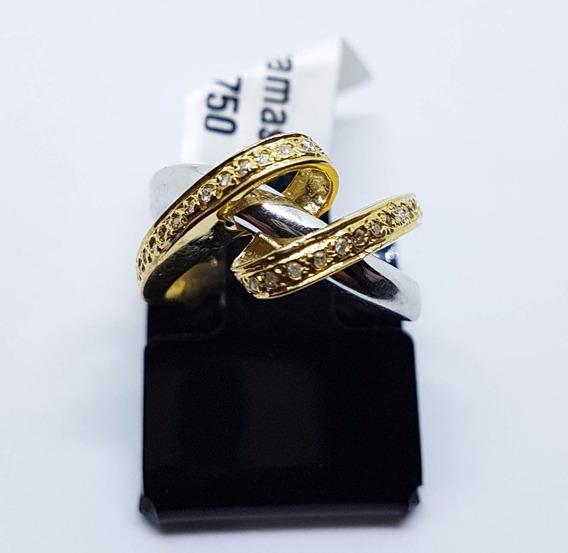 Anel De Ouro 18k Amarelo-branco Diamantes Verdadeiros 5,70g
